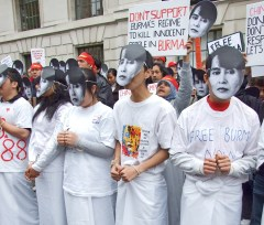 London supporters of Aung San Suu Kyi protest the Burmese government
