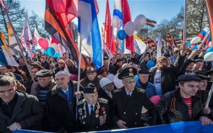 Crimeans have reacted mostly positively towards the annexation, frequently demonstrating their joy in public actions.