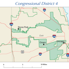 Illinois' 4th Congressional District, 108th Congress illustrates gerrymandering. Wikimedia