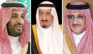 Prince Mohammad Bin Salman, King Salman, Crown Prince Mohammad Bin Nayef (left to right)