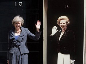 Theresa May and Margaret Thatcher at 10 Downing Street, respectively. https://flic.kr/p/J8uQXu
