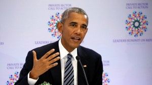 President Barack Obama speaks at the Leaders Summit for Refugees and Migrants, September 19