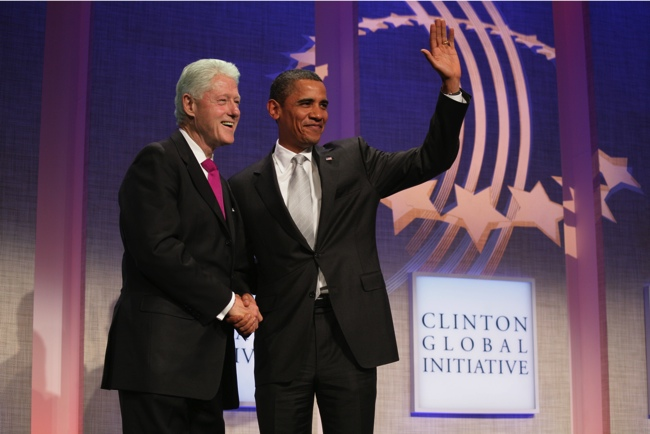 Former President Bill Clinton and current President Barack Obama at the Clinton Global Initiative Summit, 2009. Photo Credit: Sunica Markovic (Flickr Creative Commons).