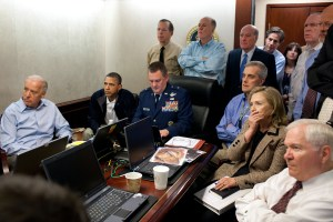 President Barack Obama and Vice President Joe Biden, along with with members of the national security team, receive an update on the mission against Osama bin Laden in the Situation Room of the White House, May 1, 2011. http://tinyurl.com/jzk3o4f