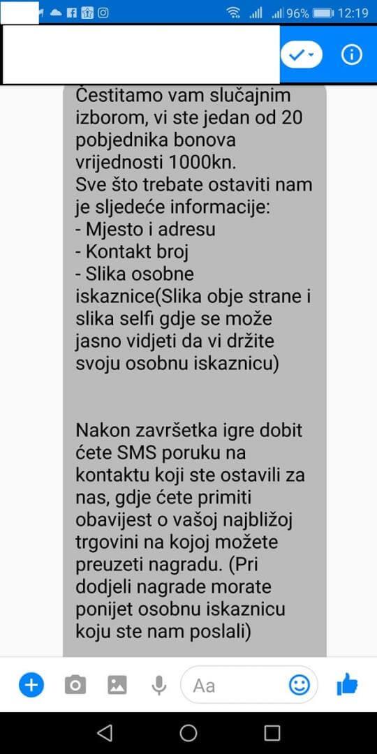 Još jedna prijevara preko Facebooka: Policija upozorava što nikako ne smijete napraviti ako dobijete ovakvu poruku