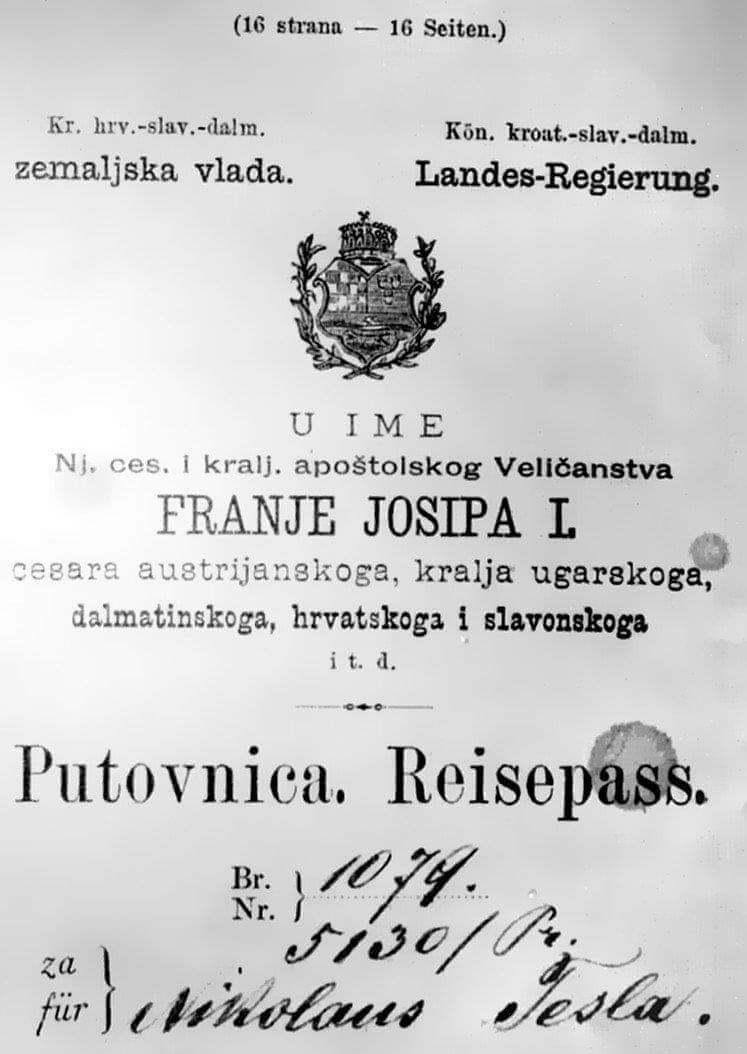 Dva zanimljiva detalja s putovnice kojom je Nikola Tesla otišao u SAD
