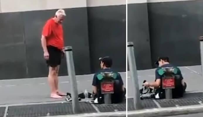 [VIDEO] Stara škola: Umirovljenik usred trčanja skinuo tenisice i dao ih mladiću