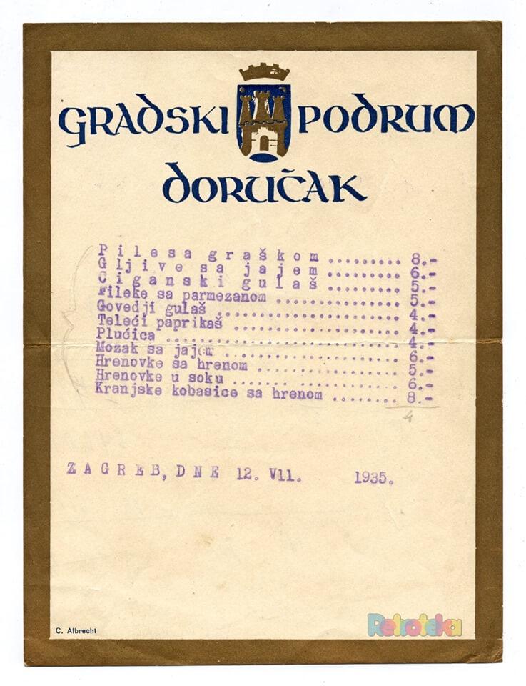 Zaboravljena jela: Pogledajte što se nudilo za doručak u Gradskom podrumu 1935. godine