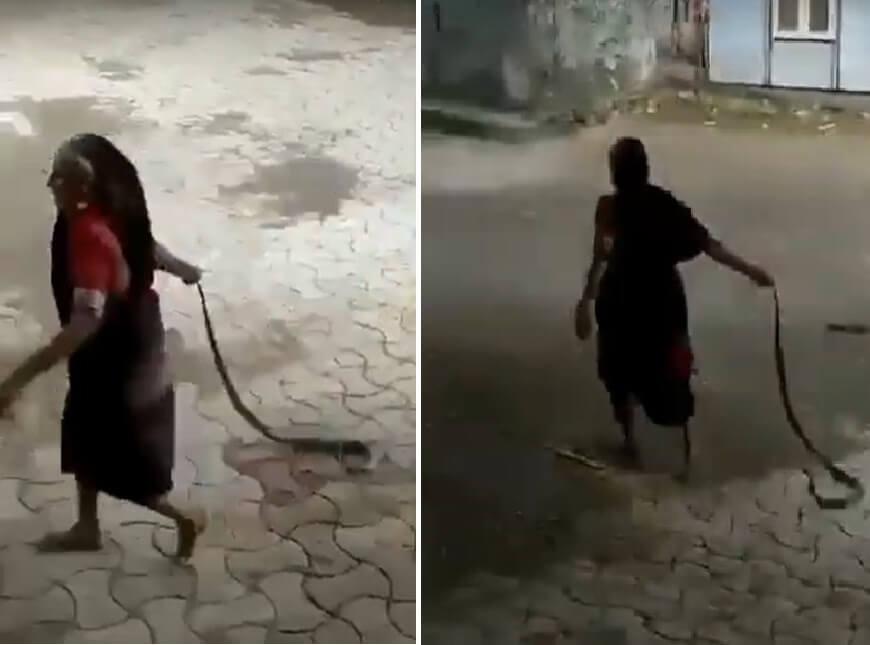 [VIDEO] Neustrašiva baka zgrabila kobru za rep, vukla je niz ulicu i bacila podalje od djece!