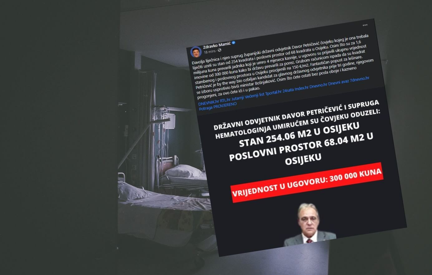 Mamić optužuje suce i odvjetnike: Čovjeku su na smrtnoj postelji oteli imovinu vrijednu 1,6 milijuna kuna