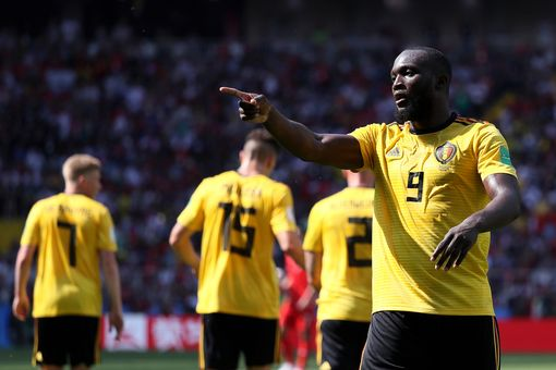Romelu Lukaku of Belgium celebrates