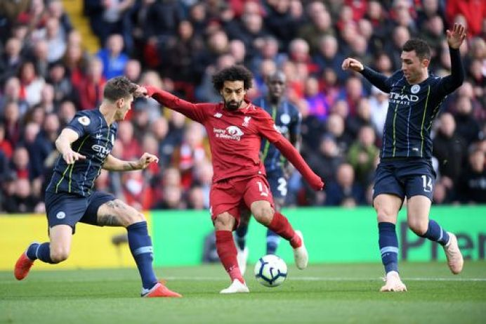 Mohamed Salah of Liverpool shoots at goal