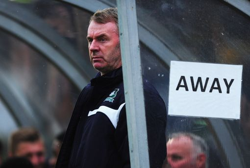 HIGH WYCOMBE, ENGLAND - MAY 14: John Sheridan manager of Plymouth Argyle looks during the Sky Bet League Two Playoff semi final match between Wycombe Wanderers and Plymouth Argyle at Adams Park on May 14, 2015 in High Wycombe, England. (Photo by Dan Mullan/Getty Images)