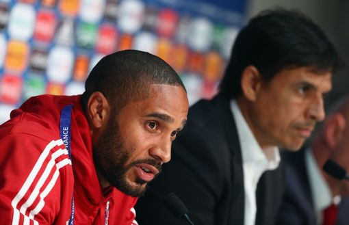 LILLE, FRANCE - JUNE 30: In this handout image provided by UEFA, head coach Chris Coleman and Ashley Williams of Wales attend a press conference at Stade Pierre Mauroy on June 30, 2016 in Lille, France. (Photo by Handout/UEFA via Getty Images)