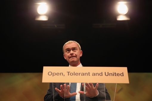 BRIGHTON, ENGLAND - SEPTEMBER 20: Tim Farron, leader of the Liberal Democrats, delivers a speech on the final day of the Liberal Democrats' 2016 Autumn Conference on September 20, 2016 in Brighton, England. Farron is delivering his final speech of the conference to party members today during which he is expected to announce that one of his party's key pledges would be to raise taxes to fund shortfalls in the NHS. (Photo by Dan Kitwood/Getty Images)