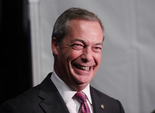UKIP's Nigel Farage speaks to the media outside the US presidential election night party at the US Embassy in London