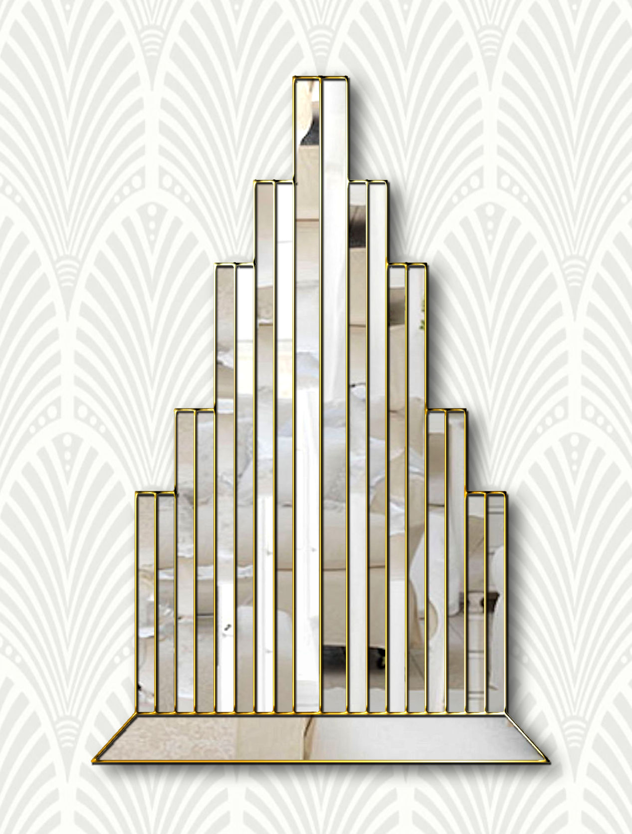 New York Original Handcrafted Art Deco Wall Mirror With Gold Trim Bespoke Mirrors Art Deco Mirrors Custom Made Mirrors