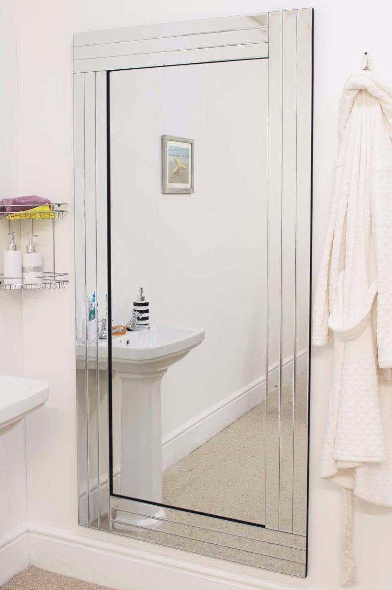Large Bathroom Silver Bevelled Modern Glass Wall Mirror ...