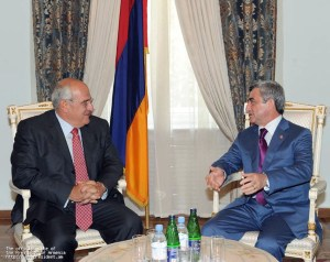 AGBU President Berge Setrakian met with Armenian President Serge Sargisian at the presidential office on September 4.