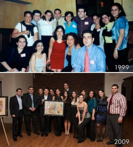Top: AGBU Young Professionals of Greater New York Committee Members were beaming at the group's inaugural event in 1999; Bottom: Members of the YPGNY Committee gathered during the group's trademark silent auction and reception in January 2009 which raised $15,000 for the AGBU Children's Centers of Armenia.