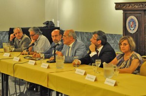 AGBU President Berge Setrakian (center) with AGBU Central Board Members from left, Yervant Zorian, Sam Simonian, Sinan Sinanian, (far right) Carol Aslanian and AGBU Southern California District Committee Chair Berj Shahbazian (second from right) during the special Pasadena forum on the Protocols for the Process of Normalization of Relations between Armenia and Turkey