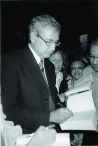 Orhan Pamuk autographs books for fans after the first of his six Charles  Eliot Norton lectures at Sanders Theater, Harvard University.