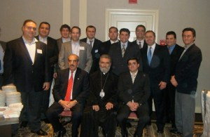 Members of Knights of Vartan with the guests. Seated, from left, Haig Deranian, Archbishop Pargev Mardirossian and Prime Minister of Karabagh Araik Harutunian