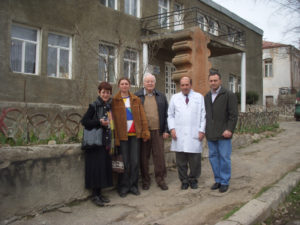 Standing in front of the Berdsor (Lachin) hospital from left: Eva Medzorian, Arpi Otyag Daughters of Vartan; Sveta, Tufenkian Charitable Foundation Karabagh administrator; Jack Medzorian, Ararat Lodge K of V; Dr. Shahen Palyotchyan, director of Berdsor hospital and Saro Khachikian, Ararat Lodge K of V.