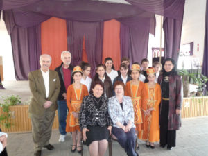 Maro Bedrosian and delegates with Berdzor school principal and students