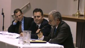 On the panel were, from left, Henry Theriault, professor of philosophy, Worcester State College, Advisory Board member, International Association of Genocide Scholar; Oscar Tatosian, chairman of the Diocesan Council of the Armenian Church of America (Eastern) and Ken Hachikian, chairman of the Board of the Armenian National Committee of America.