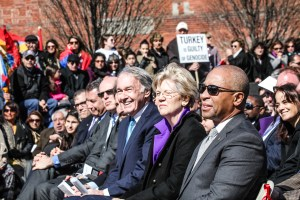 From left, Senators Markey and Warren, with former Gov. Deval Patrick