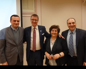 Knights and Daughters of Vartan representatives with Robert Avetisyan, left, and Halo Trust's Andrew Moore, second from let