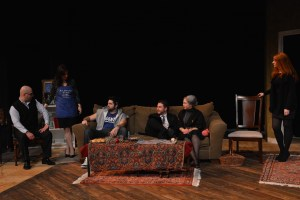 "A scene from ""Where Is Your Groom? (Pesad Oor Eh)"" featuring (l-r) patriarch Koko Keshishian (played by Aris Hamparsumian), matriarch Siroun (played by Daniella Baydar), Mike the ""odar"" (played by Joseph Hovsepian), brother Saro (played by Haig Minassian), Medz Mayrig (played by Lori Cinar) and daughter Lara (played by Taleen Babayan)."