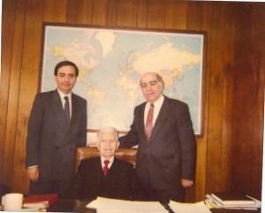 From left, Levon G. Nazarian, Prof. Parounag Tovmassian, Nazar Nazarian