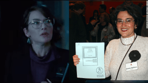 At right, Kate Winslet at Joanna Hoffman, and at left, the real Joanna Hoffman