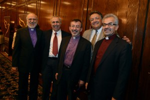 From left Archbishop Oshagan Choloyan, Jean-Jacques Hajjar, Archbishop Khajag Barsamian, Dr. Noubar Afeyan and Archbishop Moushegh Mardirossian. Photos by Neshan H. Naltchayan