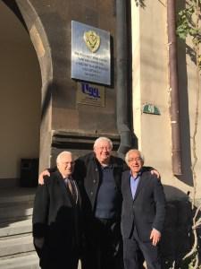 From left, Edmond Y. Azadian, Hagop Vartivarian, Hagop Avedikian, in front of the ADL Nazar and Artemis Nazarian Center