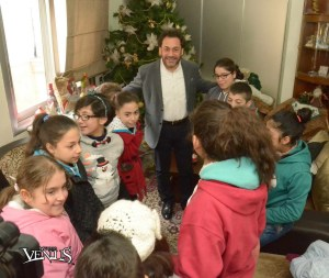 Rev. Hroutune Selimian with the children of the Armenian orphanage in Aleppo