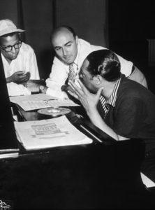 From left, Billy Strayhorn, George Avakian and Duke Ellington