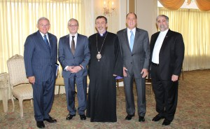 Dignitaries and Special Guests (Left to right):  US Senator Robert Menendez (D-NJ), Zohrab Mnatsakanyan (Armenia's Permanent Representative to the United Nations), His Eminence Archbishop Khajag Barsamian (Primate of the Diocese of the Armenian Church of America-Eastern), Mayor Thomas Calabrese of Cliffside Park NJ, and the Very Rev. Fr. Vazken Karayan (Pastor)