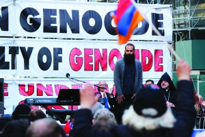Grammy-nominated artist Sebu Simonian (of Capital Cities) sings during the Armenian Genocide Commemoration (photo by Anahid Kaprielian)