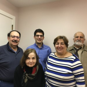 Several members of the Armenian Memorial Church fair committee members gather in preparation for the Annual Fair to be held on Friday evening, May 20 and Saturday May 21.They are (back, l to r) Armen Dohanian, Scott Yerganian and Gregg Ohanian, and front (l to r) Vicky Tomasian and Roberta Vanderkyl.
