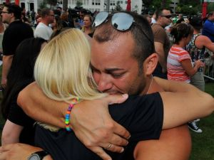 Grieving friends and relatives in the wake of the Orlando shooting