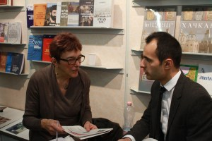 Muriel Mirak-Weissbach with Arthur Mesropyan, International Rights Manager of Zangak Publishing House, at the Republic of Armenia stand