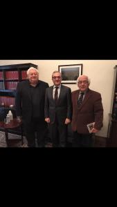From left, Hagop Vartivarian, Ambassador Zohrab Mnatsakanyan and Hagop Avedikian