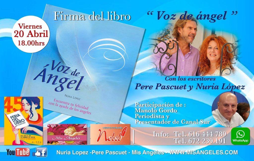 Firma-libros-Cordoba-Voz de Angel con Nuria Lopez y Pere PAscuet, Mis Angeles