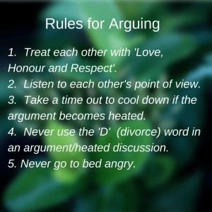 Rules for arguing in Marriage1. Remember your goal is to keep with
