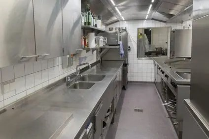 small restaurant kitchen design wall mounted shelving