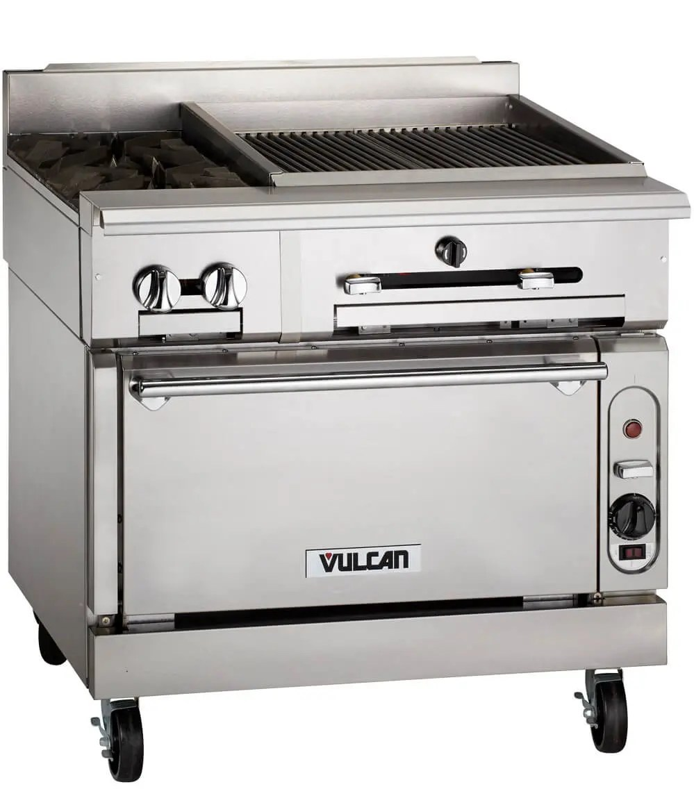 commercial two burner restaurant kitchen range and charbroiler combination