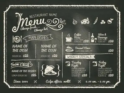 handwritten restaurant menu